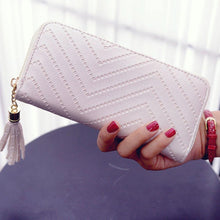 Load image into Gallery viewer, ISKYBOB Women Long Wallet Lady Leather Wallet Clutch Handbag Checkbook Purse Tassel Purse Women Long Leather Wallet