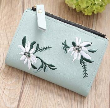 Embroidery Short Wallet PU Leather Wallets Female Floral Hasp Coin Purse Zipper Bag Card Holders