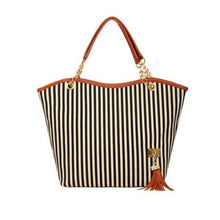 Load image into Gallery viewer, ABDB Striped Canvas Handbag Women Shoulder Bags Beach Bag Fashion Zipper Tassel Women Handbag Big Tote Bag