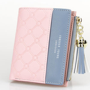 Tassel Zipper Purse Pink Woman's Wallet Double Color Leather Wallets for Euro Card Holder Money Bag