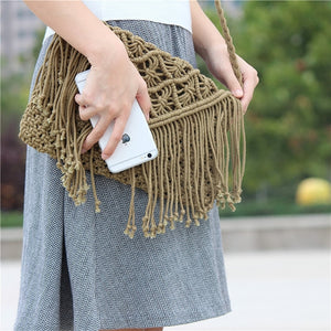 Tassel straw bag large clamshell cotton hand-woven casual female beach bag Knitted Messenger Bags