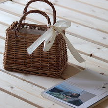 Load image into Gallery viewer, Ribbons Bow Tie Top-Handle Wicker Bags String Rural Natual Leather Strap Shoulder Bag Casual Handmade Woven Rattan Bags