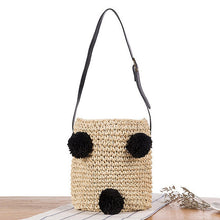 Load image into Gallery viewer, Arrival Summer Designer Cherry Straw Bucket Bag Women Pompom Hand-Woven Drawstring Shoulder Bag Girl Beach Bag Shopper Bolso