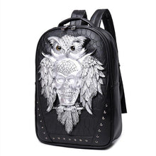 Load image into Gallery viewer, 3D Owl Skull Embossing Rivet Black Purse Satchel Man Backpack Halloween Stylish Cool PU Leather laptop Travel Soft Bags