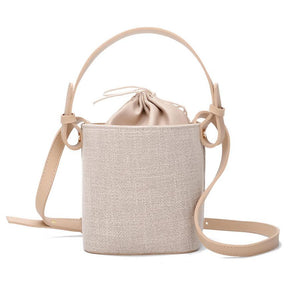 Linen pumping bucket bag portable dual-use female bag women's shoulder bag