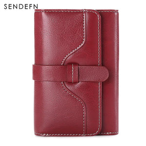 Sendefn  Wallet-female Short Women's Hasp Women Purse Split Leather With Coin Pocket Mini