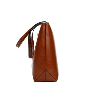 Retro Shoulder Messenger Bag Simple Oil Wax Leather Tote Bag