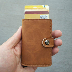RFID Protected Vintage Automatic Leather Credit Card Holder Men Aluminum Alloy Hasp Business ID Multifunction Cardholder Wallet