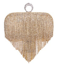 Load image into Gallery viewer, Tassel Rhinestone Finger Ring Evening Bags Diamonds Wedding Handbags Women Day Clutch Mini Purse Bag With Chain