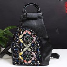 Load image into Gallery viewer, XIYUAN BRAND 2016 Women Vintage Backpack Female Gypsy Bohemian Boho Chic Aztec Folk Tribal Ethnic diamond black Backpacks Bag