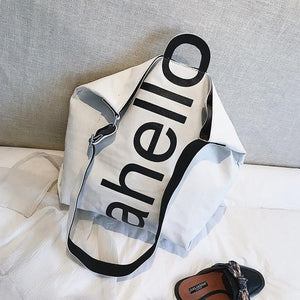 Canvas Women's Fashion Letters Portable Tote Bag Broadband Wild Large Capacity Handbag