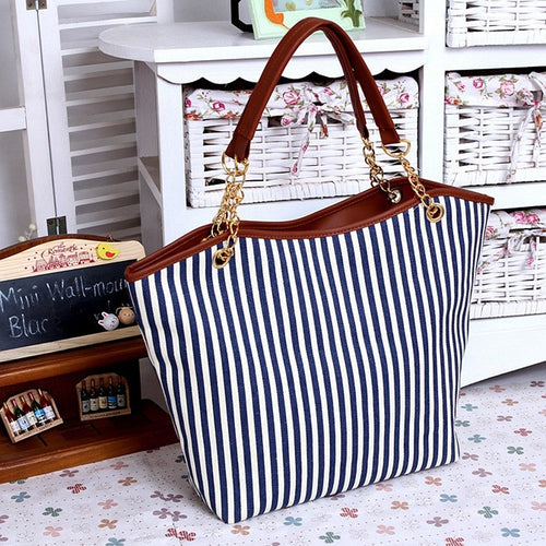 ABDB Striped Canvas Handbag Women Shoulder Bags Beach Bag Fashion Zipper Tassel Women Handbag Big Tote Bag