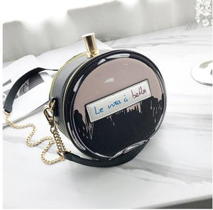 Round Letter Printed Perfume Bottle Pu Leather Casual Handbag Chain Purse Shoulder Bag