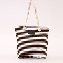 Load image into Gallery viewer, Canvas Unisex Stripe Women Zipper Handbag Strap Coffee Shopping Bag Shoulder Bag Lady Bags