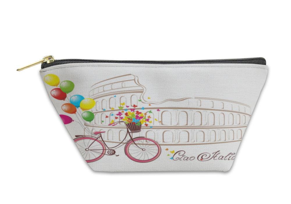 Accessory Pouch, Ciao Italia Text With Colosseum And Bicycle Romantic Postcard From Rome Italy