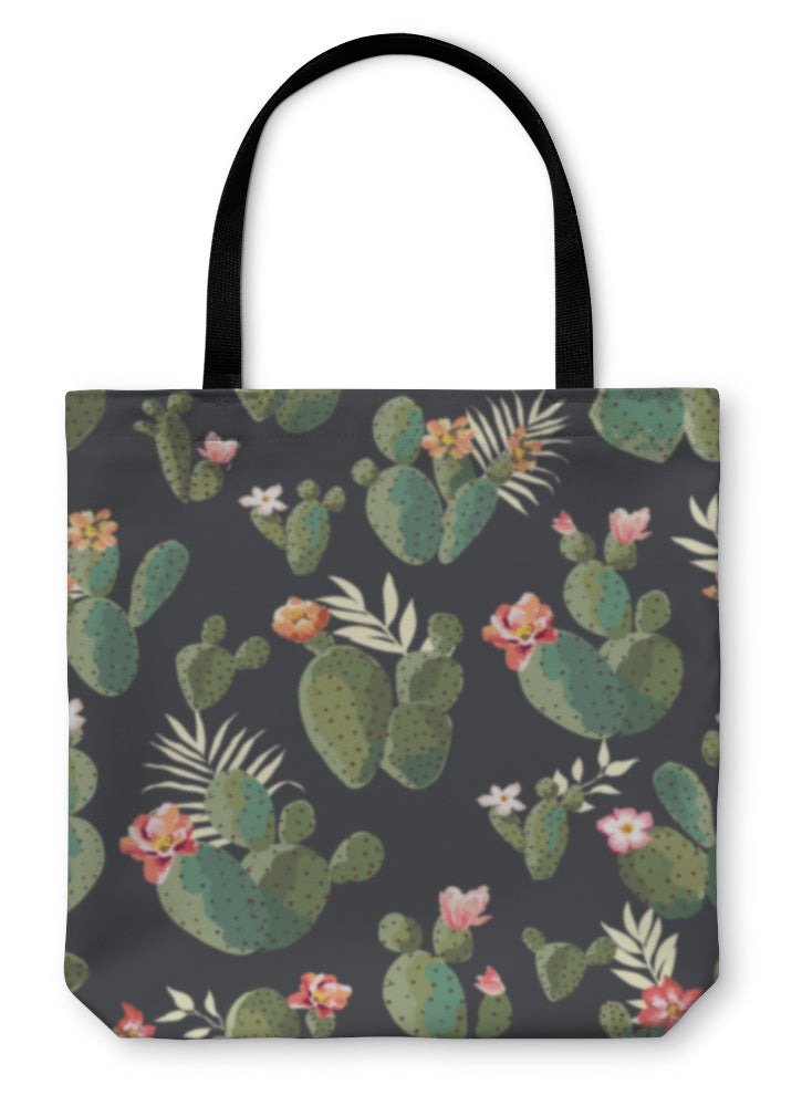 Tote Bag, Cute Cactus Print Pattern