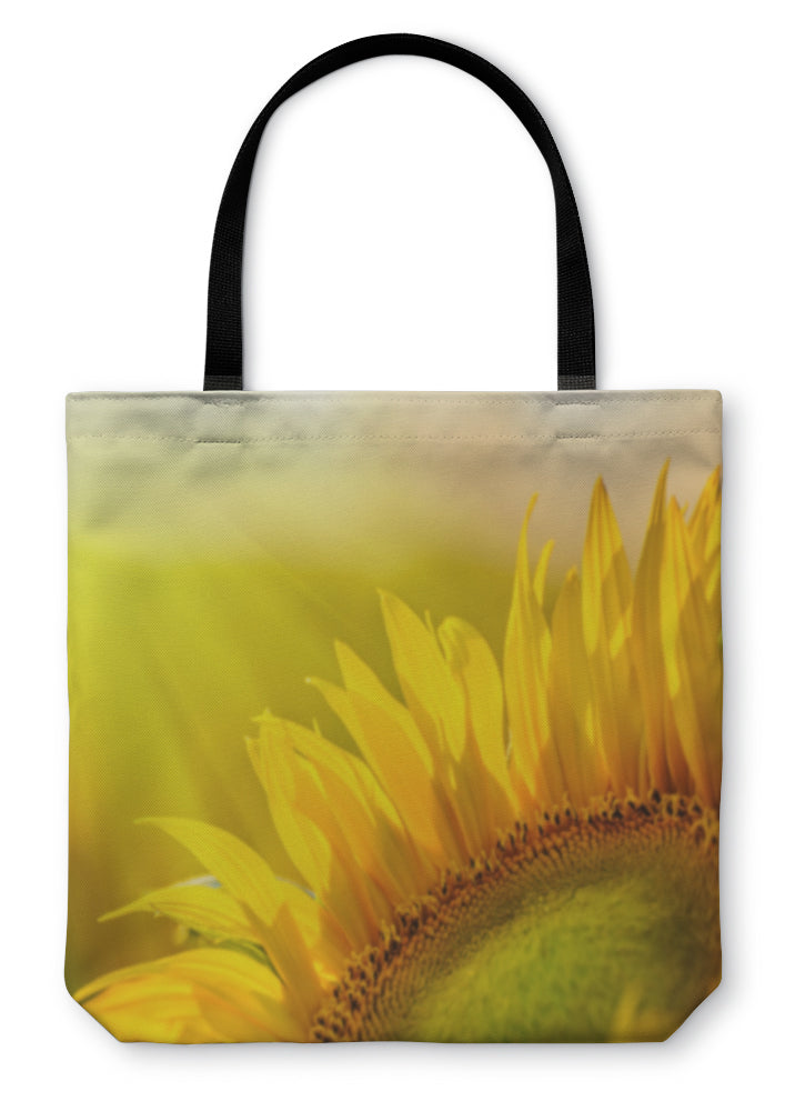 Tote Bag, Golden Sunflower In The Field Backlit By The Rays Of The Setting