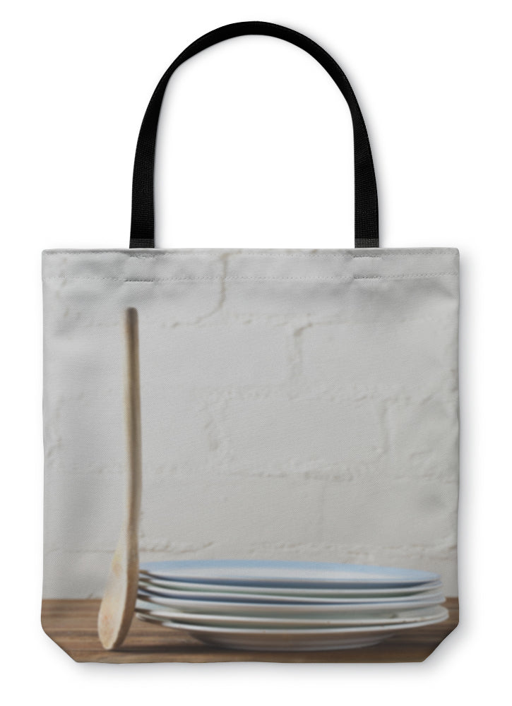 Tote Bag, Retro Kitchen Utensils Wood Spoon And Old Plates In Rustic Styl