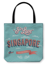 Load image into Gallery viewer, Tote Bag, Vintage Greeting Card From Singapore Singapore