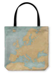Tote Bag, Map Of Europe Andorra Vintage Series
