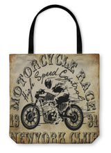 Load image into Gallery viewer, Tote Bag, Motorcycle Racing Typography Graphics And Poster Skull And Old