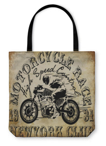 Tote Bag, Motorcycle Racing Typography Graphics And Poster Skull And Old