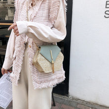 Load image into Gallery viewer, Hexagon Mulit Style Straw+leather Handbag Women Summer Rattan Bag Handmade Woven Beach Circle Bohemia Shoulder Bag