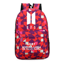 Load image into Gallery viewer, BTS Bangtan Boy Logo Door ARMY Letter Men Shoulder Backpack For Women Schoolbag Fans Collection Travel Laptop