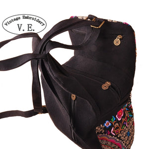 Vintage Embroidery Ethnic Canvas Backpack Women Handmade Flower Embroidered Travel Bags Schoolbag Backpacks