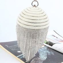 Load image into Gallery viewer, Sphere Tassel Diamond Evening Clutch Bag Lady Bling Wedding Party Crystal Stylish Handbag Female Satin Casket