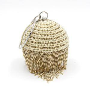 Sphere Tassel Diamond Evening Clutch Bag Lady Bling Wedding Party Crystal Stylish Handbag Female Satin Casket