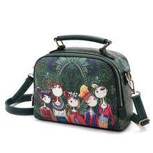 Load image into Gallery viewer, PU leather ladies ladies green cartoon handbag shoulder bag female handbag