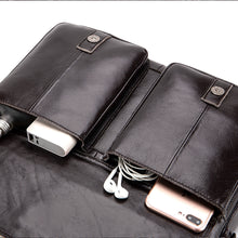 Load image into Gallery viewer, Men's Zipper / Embossed Briefcase Cowhide Solid Color Coffee / Fall & Winter