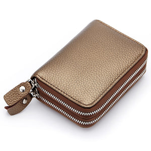 Women's Cowhide Card & ID Holder Solid Colored Blue / Bronze / Light Brown