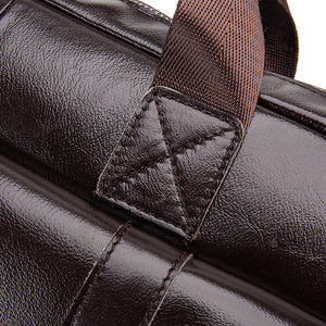 Men's Zipper / Embossed Briefcase Cowhide Solid Color Coffee / Fall & Winter