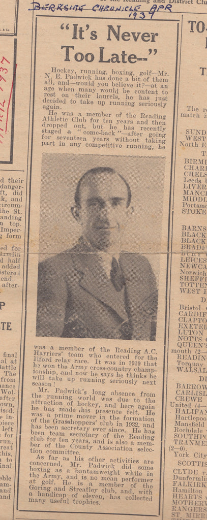 Article on Paddy Padwick and N.E.Blake & Co. from The Berkshire Chronicle 1937