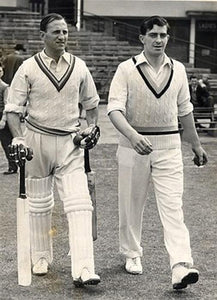 Len Hutton batting for England in a Test Match alongside the famous Yorkshire bowler Fred Trueman