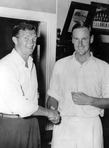 Australian captain Richie Benaud shakes hands with England captain Peter May after Australia regained the Ashes.