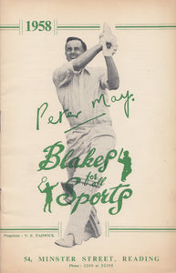 Peter May on the front cover of the 1958 N.E. Blake & Co. Catalogue
