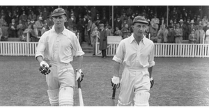 1938: English cricketers Bill Edrich (1916 - 1986) and Len Hutton (1916 - 1990) come out to bat for England against Australia at the Oval in London