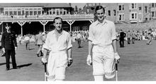 Load image into Gallery viewer, Peter May going in to bat for England against the West Indies in 1957