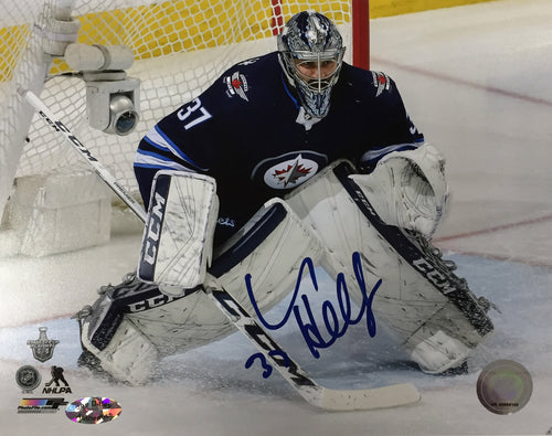 Connor Hellebuyck Autographed Winnipeg Jets 8x10 Photo - Home Jersey Horizontal