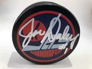 Joe Daley Autographed Winnipeg Jets Vintage Logo Puck