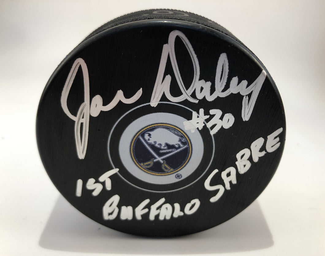 Joe Daley Autographed Buffalo Sabres Puck with 1st Sabre Inscription