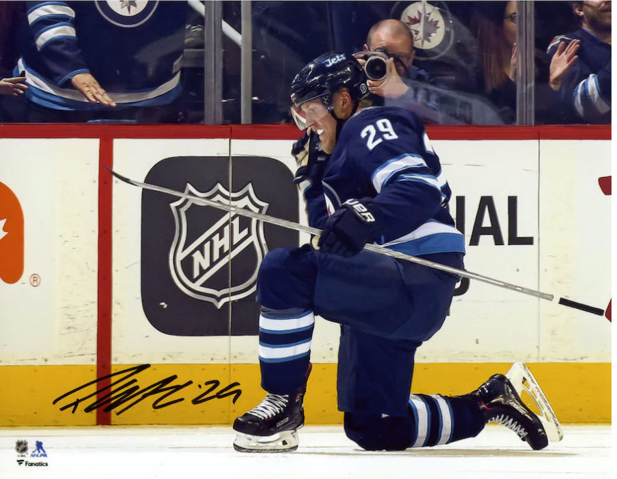 Patrik Laine Autographed Winnipeg Jets 8x10 Photo - Goal Celebration