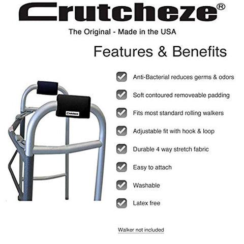 BLACK CRUTCHEZE WALKER PADDED GRIPS FEATURES AND BENEFITS