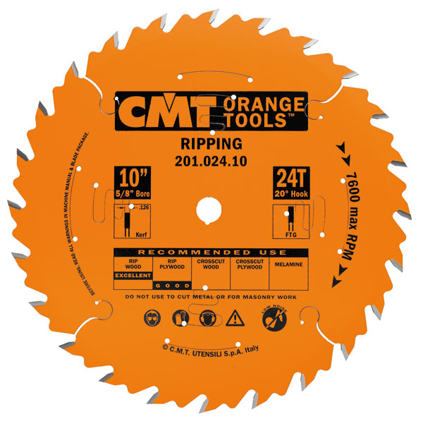 "CMT 201.024.10 10"" x 24T INDUSTRIAL RIP BLADE-Marson Equipment"
