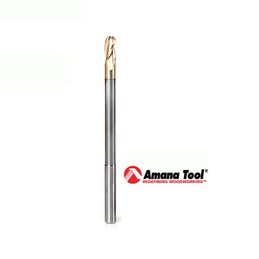 "AMANA 46490 EXTRA LONG 2D/3D CARVING STRAIGHT BALL NOSE - 1/4"" DIAMETER-Marson Equipment"
