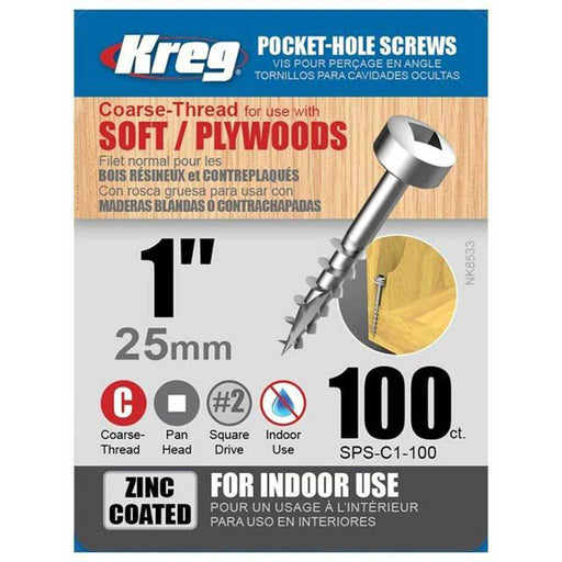 "KREG SPS-C1-100 1"" COARSE THREAD SCREWS (100PK)-Marson Equipment"