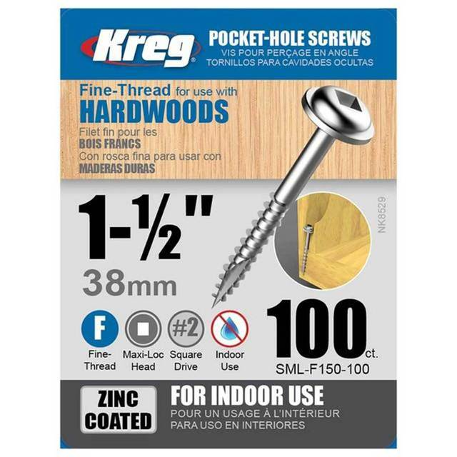 "KREG SML-F150-100 1-1/2"" FINE THREAD SCREW (100PK)-Marson Equipment"